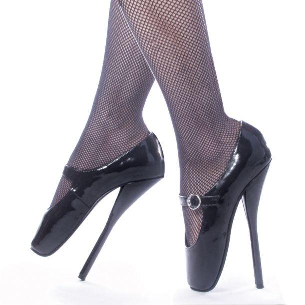 Fetish Heels BALLET-08 : Lack Schwarz*