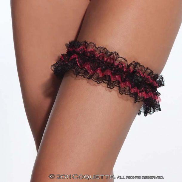 Strumpfband aus Spitze - Schwarz/Rot