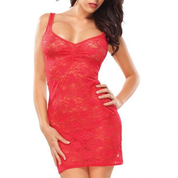 Tank Top Kleid aus Spitze - Rot