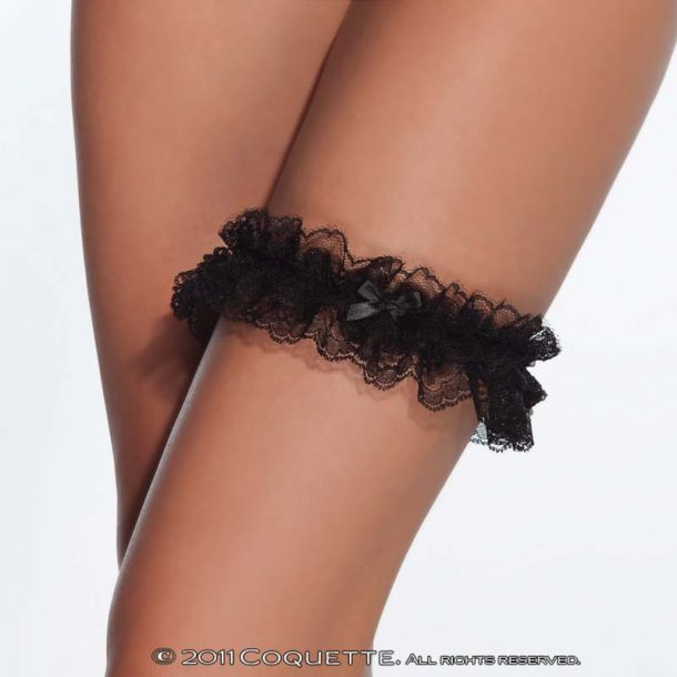 Strumpfband aus Spitze : Schwarz*