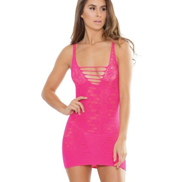Kurzes Spitzen Trägerkleid - Neon Pink