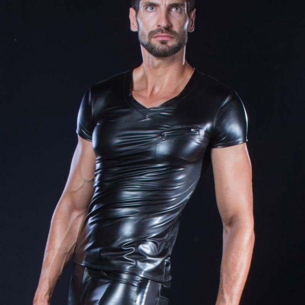 Wetlook V-Neck T-Shirt MATIS - Schwarz*