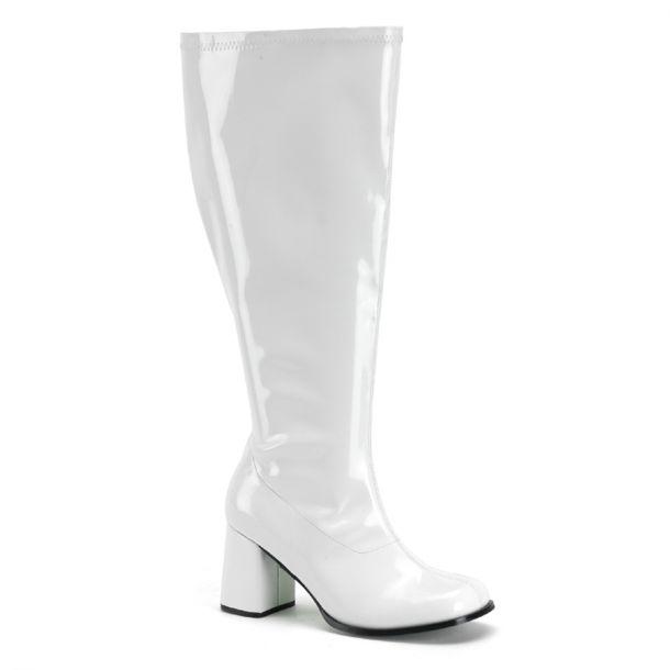 Retro Stiefel GOGO-300X (Weitschaftstiefel) : Lack Weiß*
