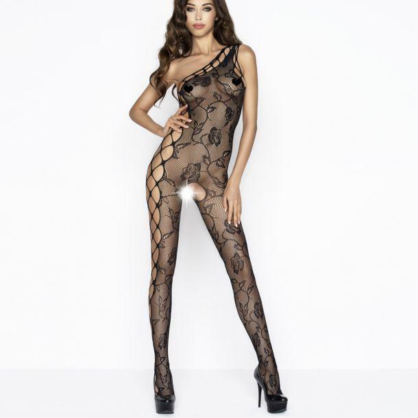 Netz Bodystocking mit Rosen BS036 - Schwarz*