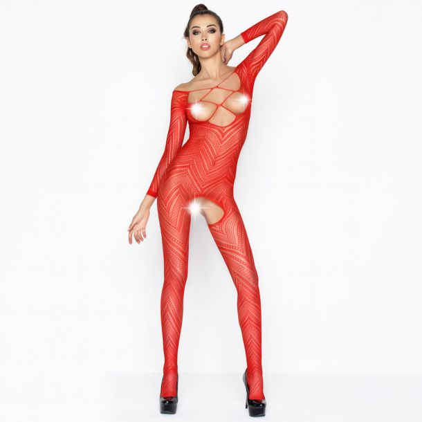Brustfreier Bodystocking Ouvert BS040 - Rot*