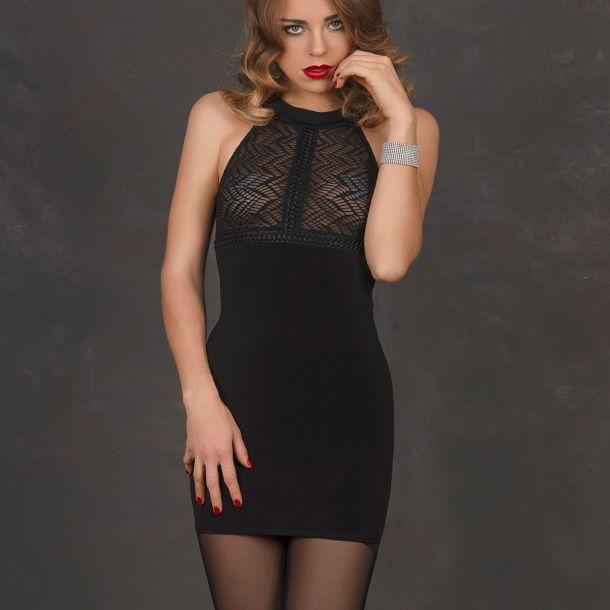Rückenfreies Kleid KENZA - Schwarz