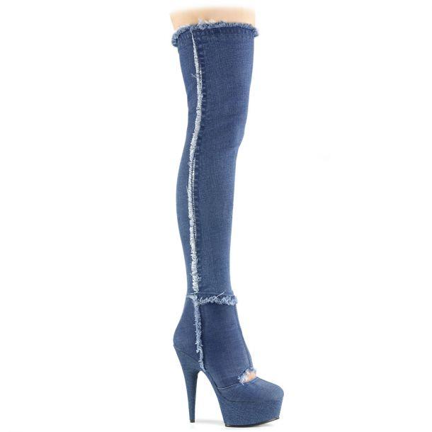 Plateau Overknee Stiefel DELIGHT-3007 - Denim Blue