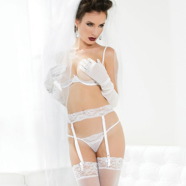 Mesh Dessous-Set - Weiß