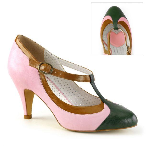 BLISS 38 ° Damen Pumps ° Rosa Schwarz Satin ° Pin Up Couture
