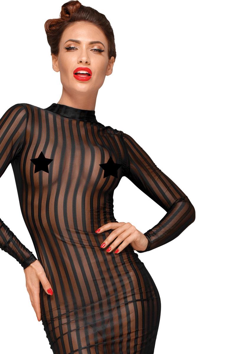 Transparentes gestreiftes Kleid F15 - Schwarz