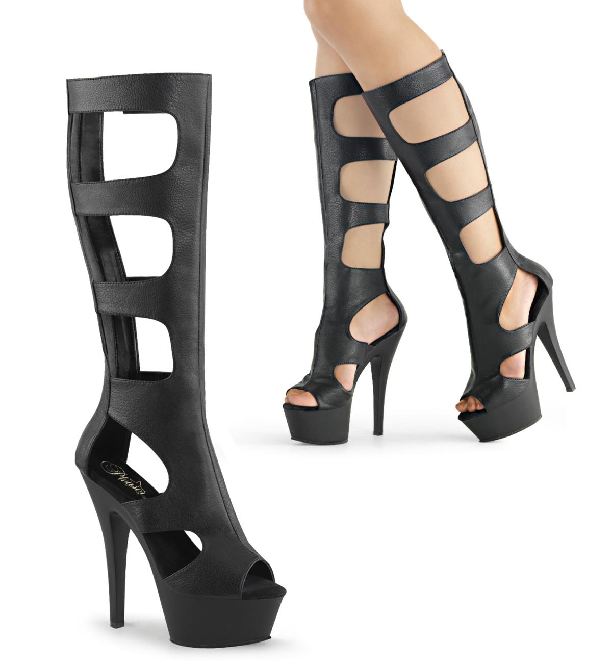gladiator high heels kiss 200 45 matt schwarz pleaser. Black Bedroom Furniture Sets. Home Design Ideas