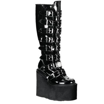 Gothic Plateaustiefel SWING-815 - Lack Schwarz