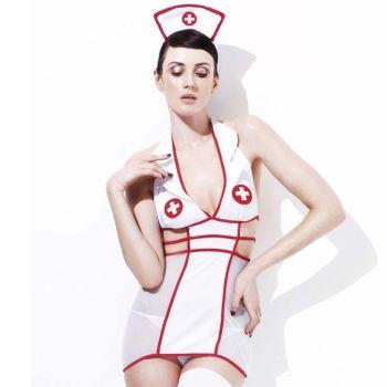 Krankenschwester Dessous Kleid - Weiß/Rot