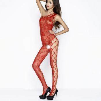 Netz Bodystocking mit Rosen BS036 - Rot*