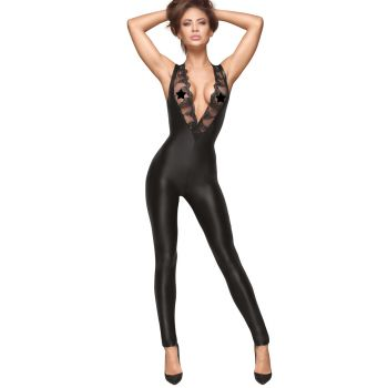 Ärmelloser Power Wet Look Catsuit F167