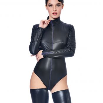 Langarm Wetlook Body - Schwarz