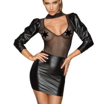 Aufregendes Power Wetlook Mesh Minikleid F201