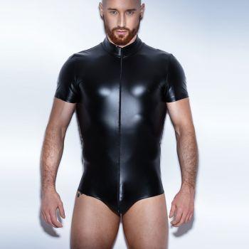 Herren Wetlook Bodysuit H045 - Schwarz