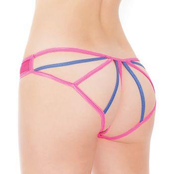 Panty mit offenem Pobereich - Neon Pink/Blau*