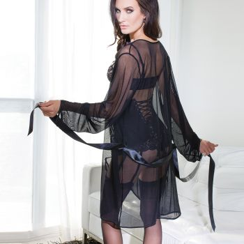 Transparenter Mesh Kimono - Schwarz